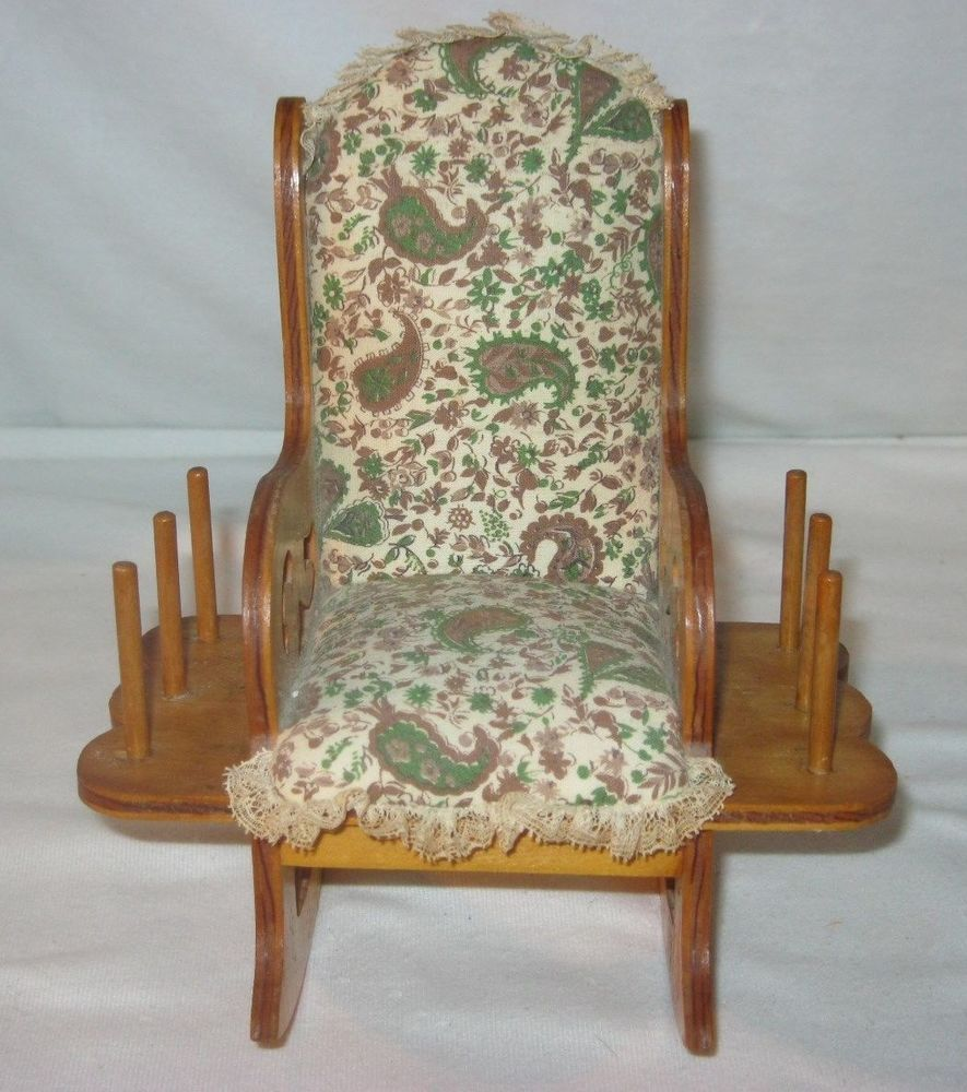 Vintage Wood Rocking Chair Pin Cushion Thread Holder Nice Size