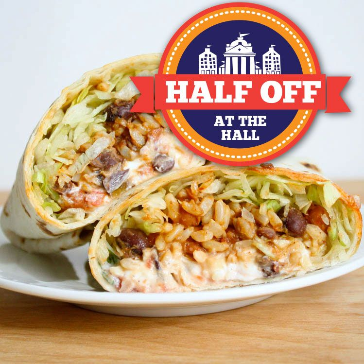 DELICIOUS! During Half Off at the Hall, a steak or chicken burrito at Mija Cantina & Tequila Bar is just $7 dollars!   http://www.faneuilhallmarketplace.com/halfoff