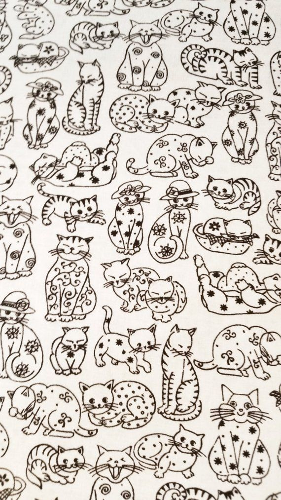 Cotton Fabric CATS and HATS Black and White Half Yard
