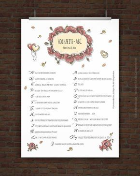 Kostenloses Hochzeits ABC zum Ausdrucken Hochzeit