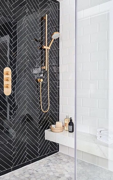 Rest Room Tile Concept Lighter Accent Wall Black And White
