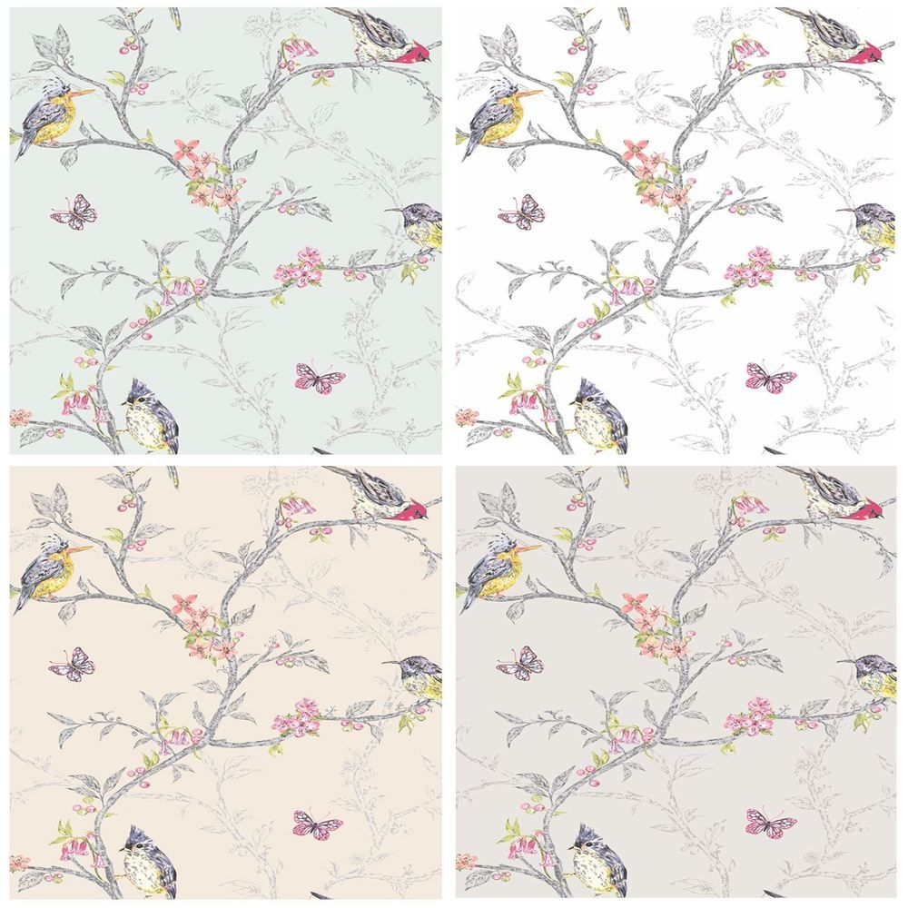 Details about PHOEBE BIRDS WALLPAPER FLORAL BUTTERFLY