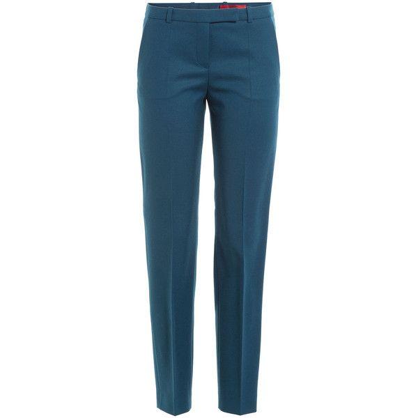 Hugo Straight Leg Virgin Wool Pants (4 925 UAH) ❤ liked on Polyvore featuring pants, blue, hugo, straight leg trousers, straight leg pants, blue pants and blue trousers