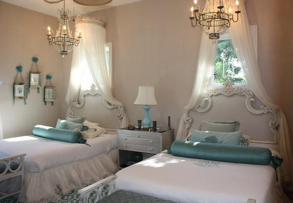girl's rooms - ornate headboard chandeliers aqua accents canopy gray walls bedroom with rococo twin headboards, turquoise  Oh My GARD!! How Sweet is this !?!