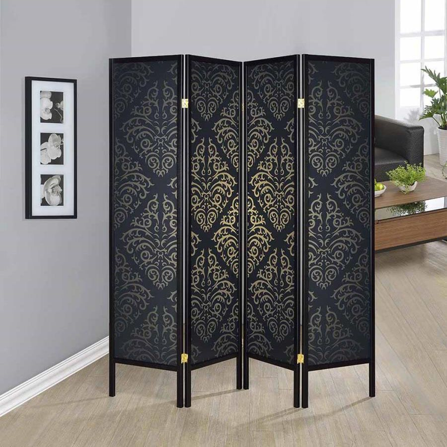 Taiwan Black Elegant 4 Panel Folding Room Divider Screen Shoji Room Divider Room Divider Screen Shoji Screen Room Divider