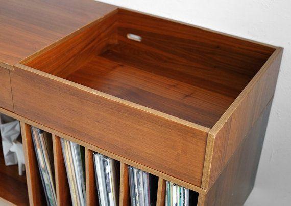 Vintage Swedish Teak Record Cabinet   Mid Century, Credenza, Wood, Buffet,  Book