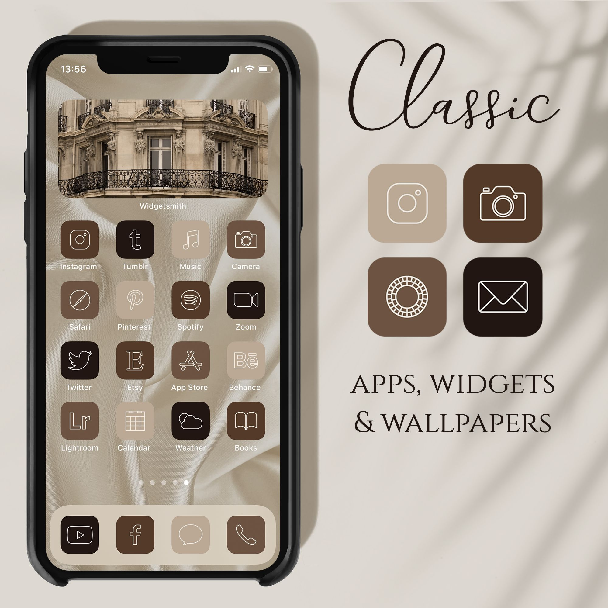 To download these iphone app icons: Classic App Icons, App Icons Aesthetic, Elegant Beige ...