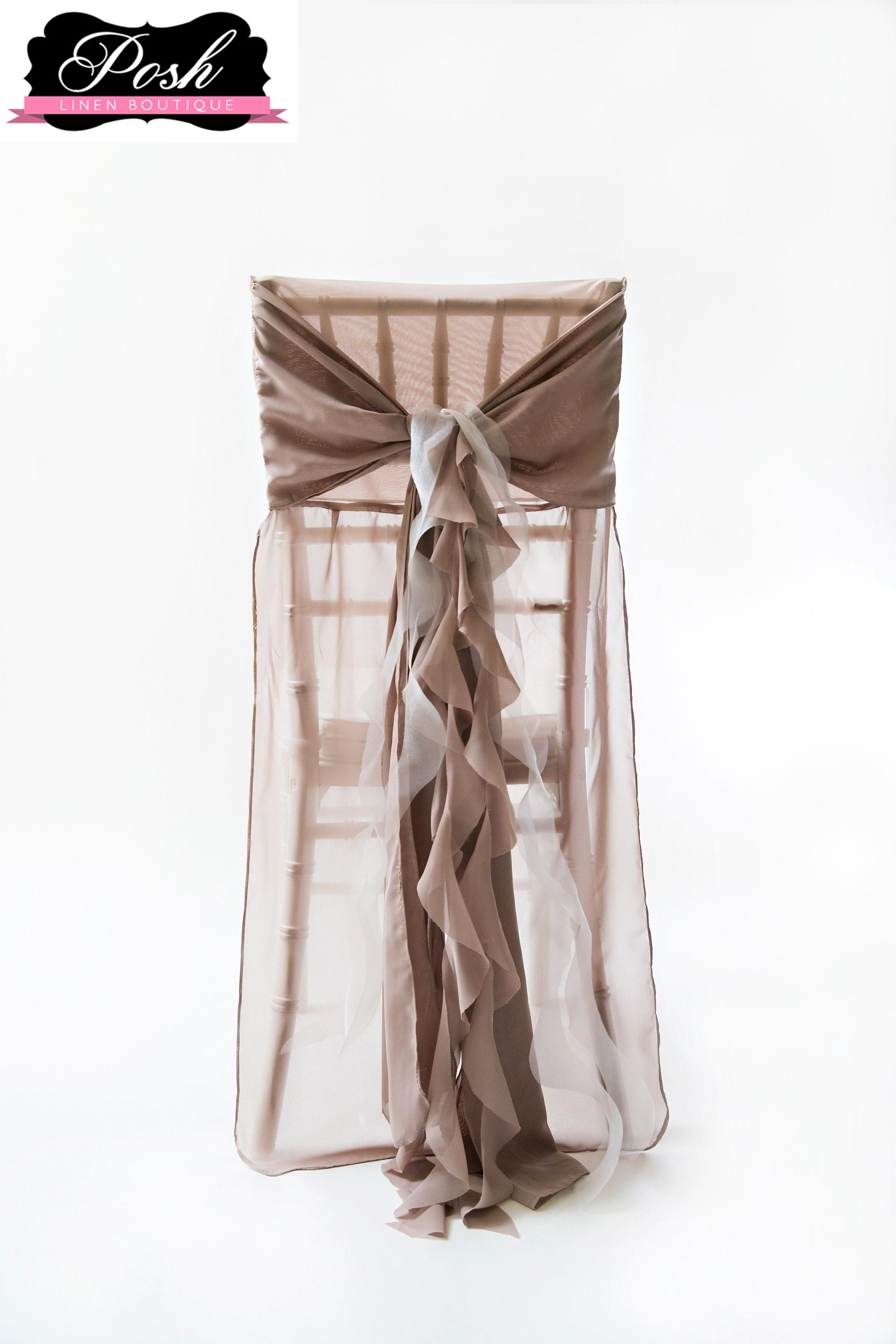 Clean classic matte organza gives this chair cover a