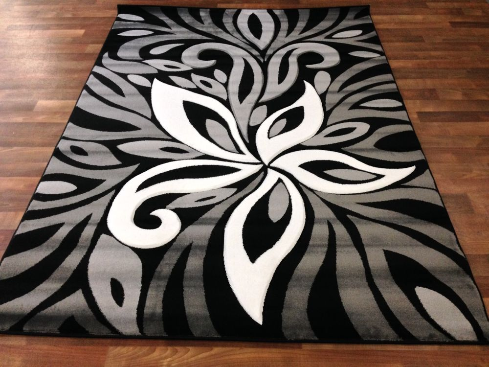 5x8 Abstract Floral Area Rug Black White Gray Room Size Vines New