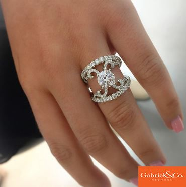 Beautiful 18k White Gold Diamond Split Shank Engagement Ring by Gabriel & Co.