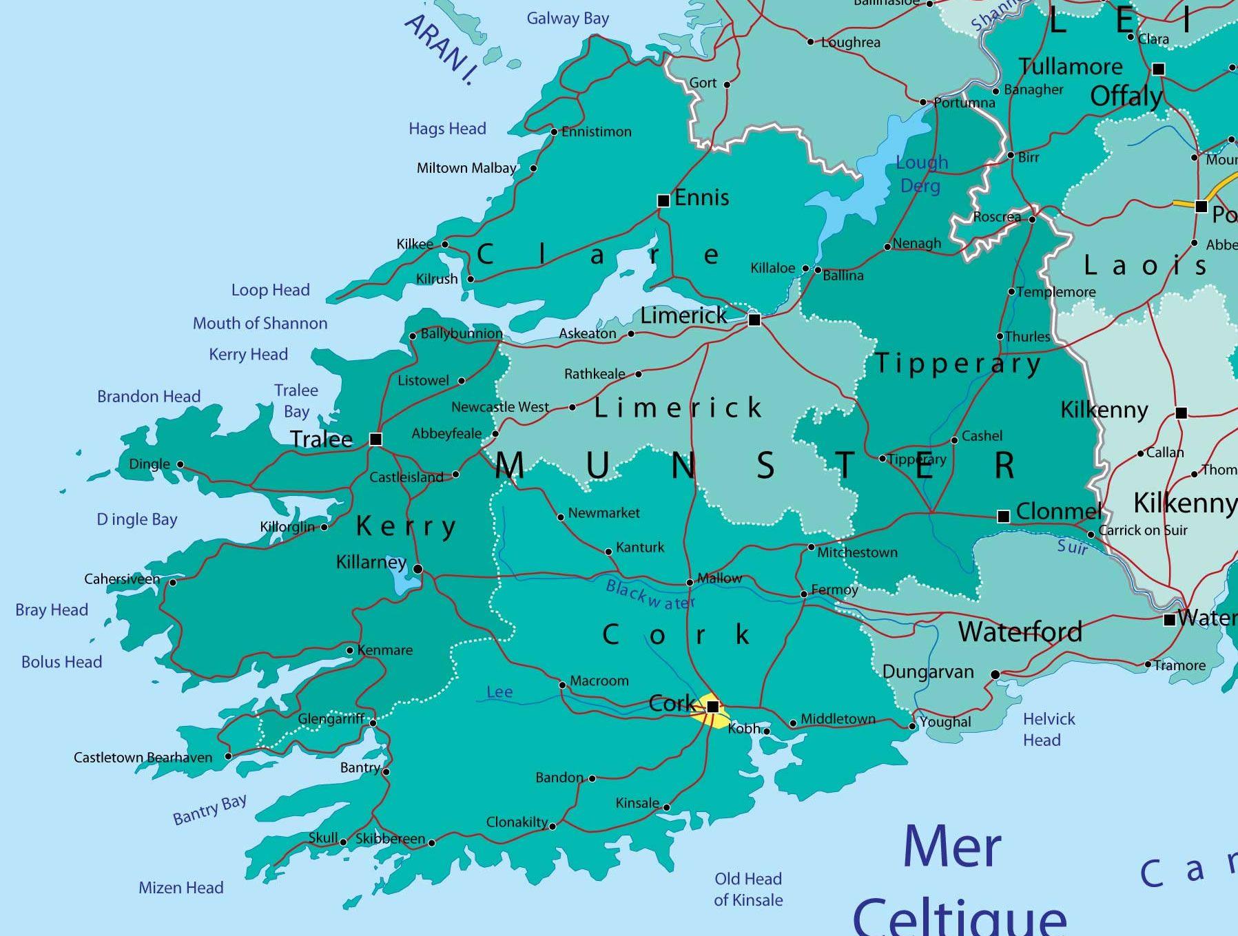 Map Of England Provinces.Munster Province Ireland Maps Of Ireland Map Of Ireland