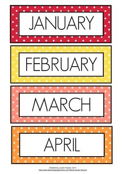 graphic regarding Printable Months of the Year titled Weeks of the Yr Colored Polka Dot Heena Weeks in just a