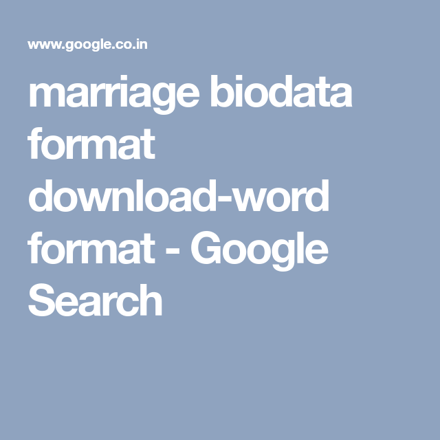 marriage biodata format download-word format - Google Search ...