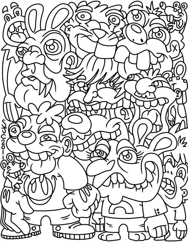 ☮ American Hippie Art ~ Coloring Pages .. Fantasy Forest Trolls ...