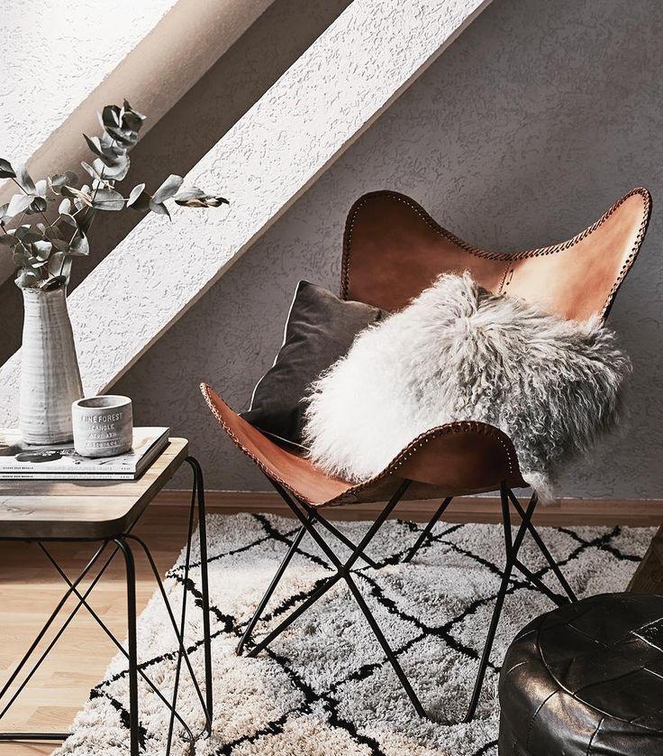 Leder-Sessel Butterfly | Schaukelstuhl modern, Teppich ...