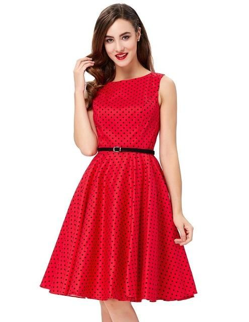 b9490a485716 Gender  Women - Dresses Length  Knee-Length - Silhouette  A-Line - Brand  Name  Belle Poque - Pattern Type  Dot - Season  Summer - Style  Vintage -  Material  ...