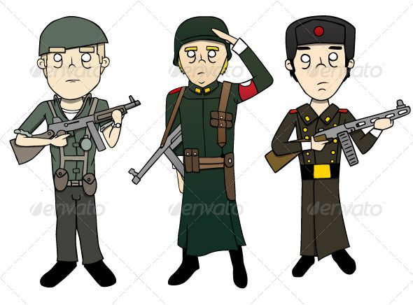 World War 2 Soldiers - Illustrations | Set of, Soldiers and World ...