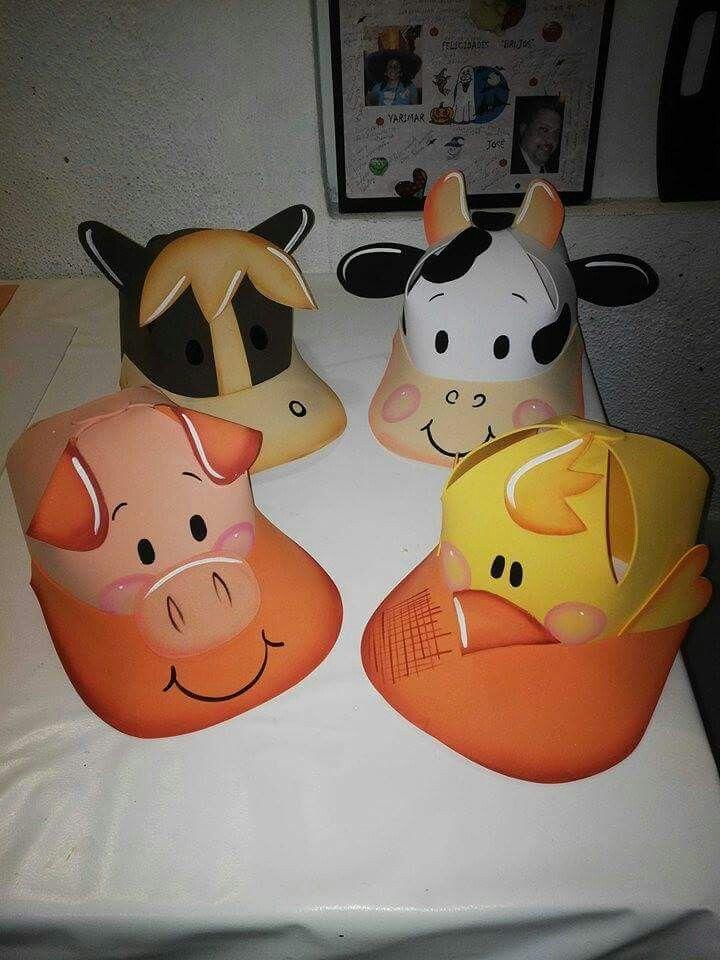 Gorra la granja foamy gorras de animales manualidades for Como hacer una granja de peces