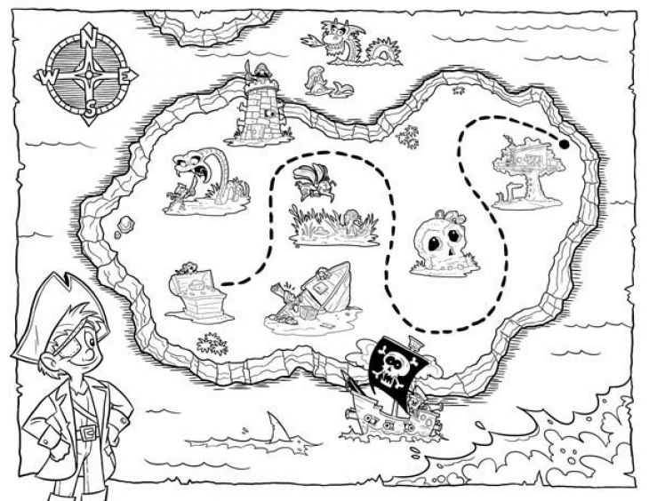 Lets hunt the treasure map coloring page for kids for Treasure hunt coloring pages