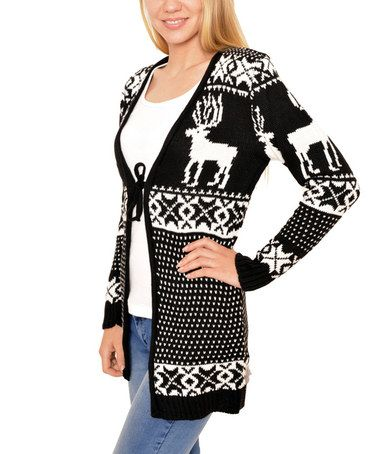 Look what I found on #zulily! Black Fair Isle Tie Cardigan ...