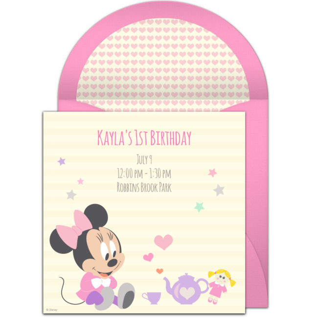 Free Minnie Mouse 1st Birthday Invitations – Punchbowl Birthday Invitations
