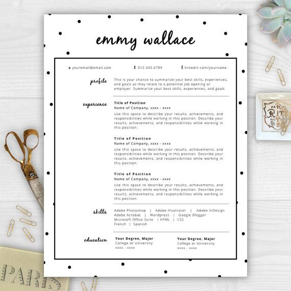 Emmy Wallace is a playful resume template perfect for anyone in - i need a resume template