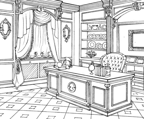 Cabinet In Classic Interior Design Coloring Page Designs Coloring Books Coloring Pages Cute Coloring Pages
