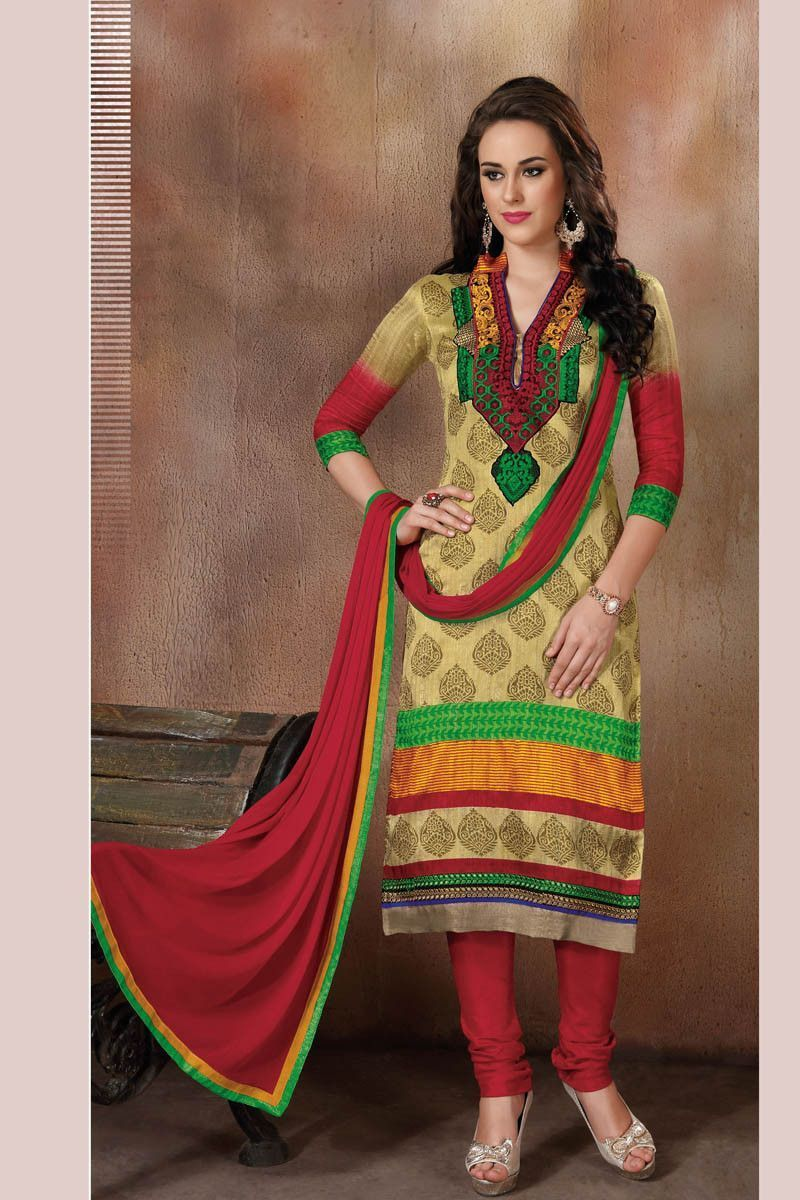 Multi Color Raw Silk Semi Stitched Printed Dress Material