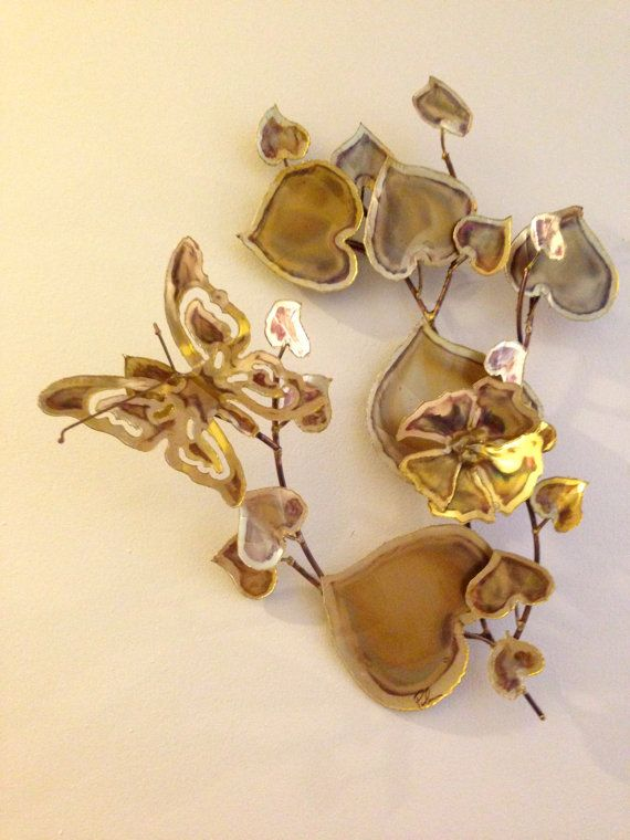 Vintage Metal Wall Sculpture Tree Branch with Leaves Flower and ...