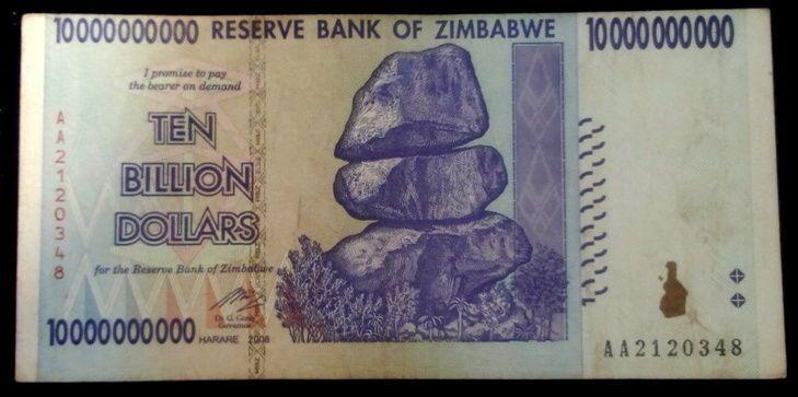 Zimbabwe 10 Billion Dollars 2008 P 85 Error Miscut 50