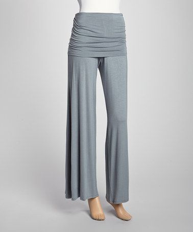 Take a look at this Steel Fold-Over Palazzo Pants by Loveappella on #zulily today!