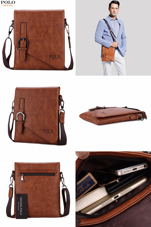 8ed494928742  Visit to Buy  VICUNA POLO Unique Buckle Design Irregular Cover Open Mens  Messenger Bag