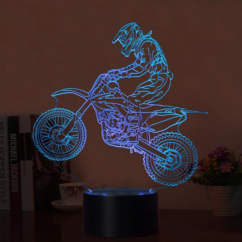 3d Optical Illusion Motocross Led Lamp 7 Colors Changeable Motocross Led Lamp Night Light
