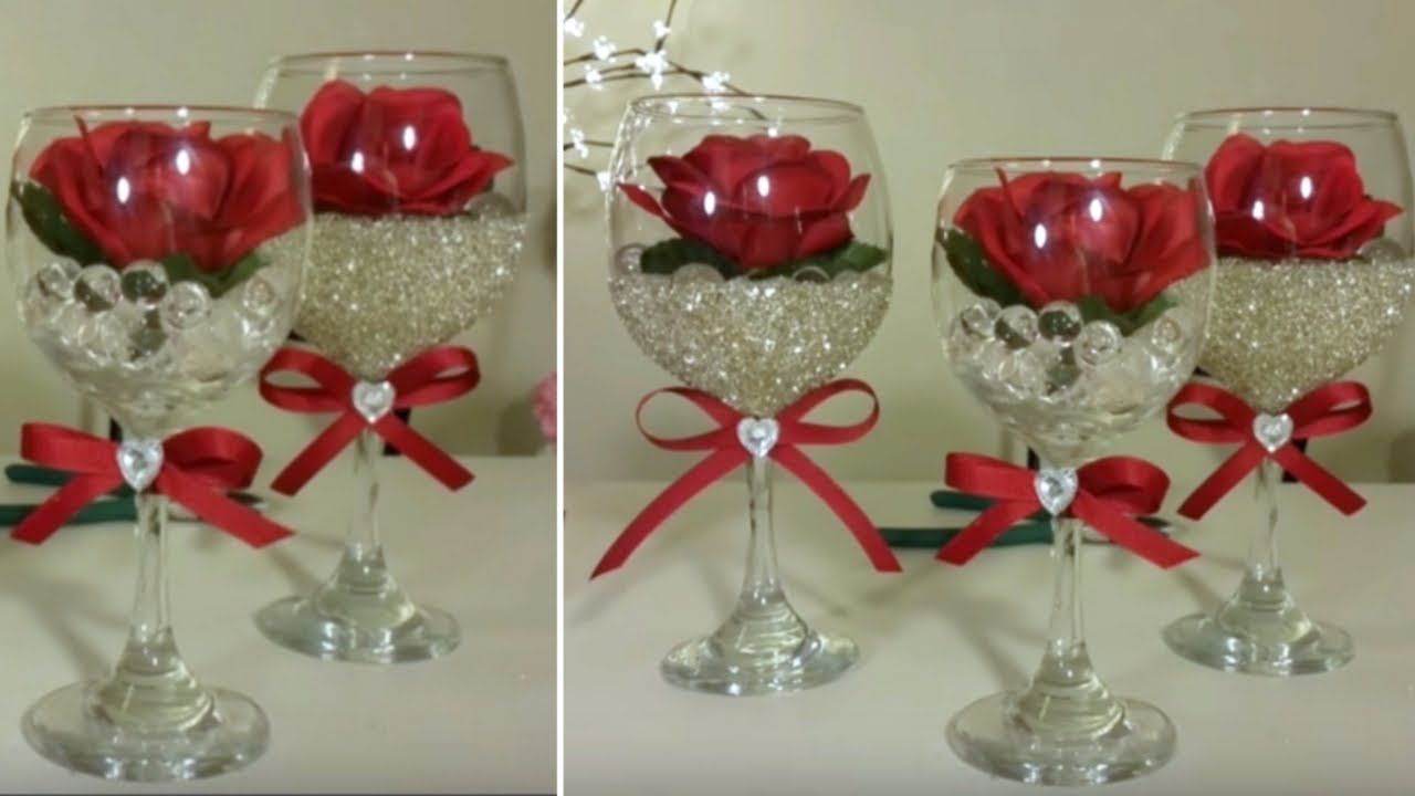 Dollar Tree Wine Glass Centerpiece Inexpensive Diy Bling And Glam Decor Youtube Wine Glass Centerpieces Valentine Centerpieces Wine Glass Crafts