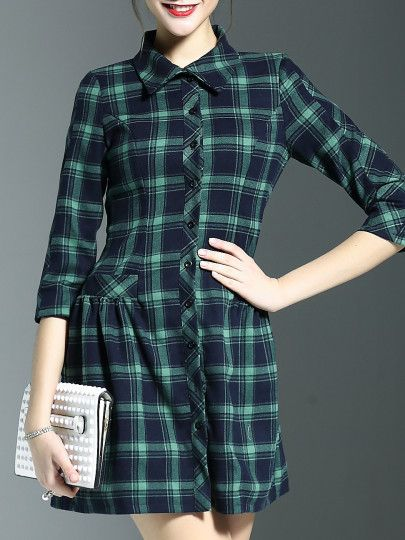 Green Lapel Plaid Pockets Drop Waist Dress