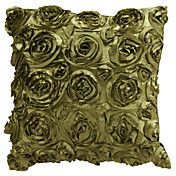 "18"" Square Green Roses Patchwork Polyester De... – USD $ 14.99"