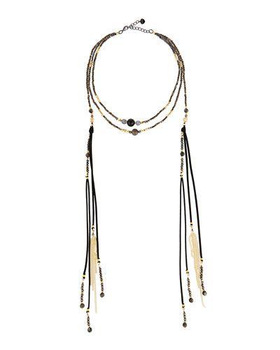 Nakamol Beaded Collar Necklace w/ Dangles NzU55CSmw
