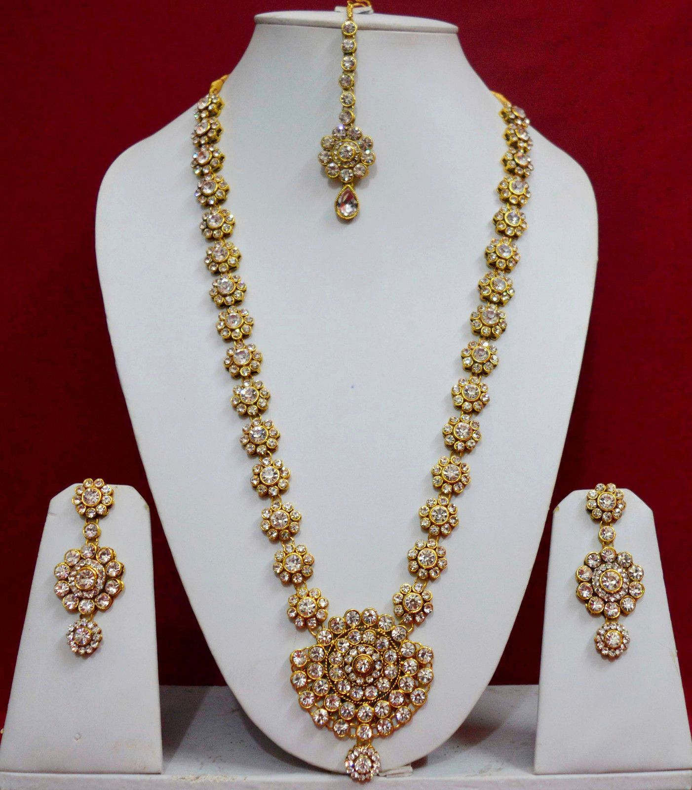 Gold rani haar pictures to pin on pinterest - Indian Rani Haar Wedding Jewelry Necklace Earrings Long Bridal Sets