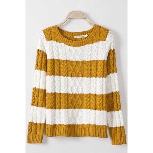 Yellow Stripe Twist Knit Stylish Pullover Sweater ($30) ❤ liked on Polyvore featuring tops, sweaters, yellow, white long sleeve top, pullover sweaters, white pullover sweater, stripe sweater and yellow pullover sweater