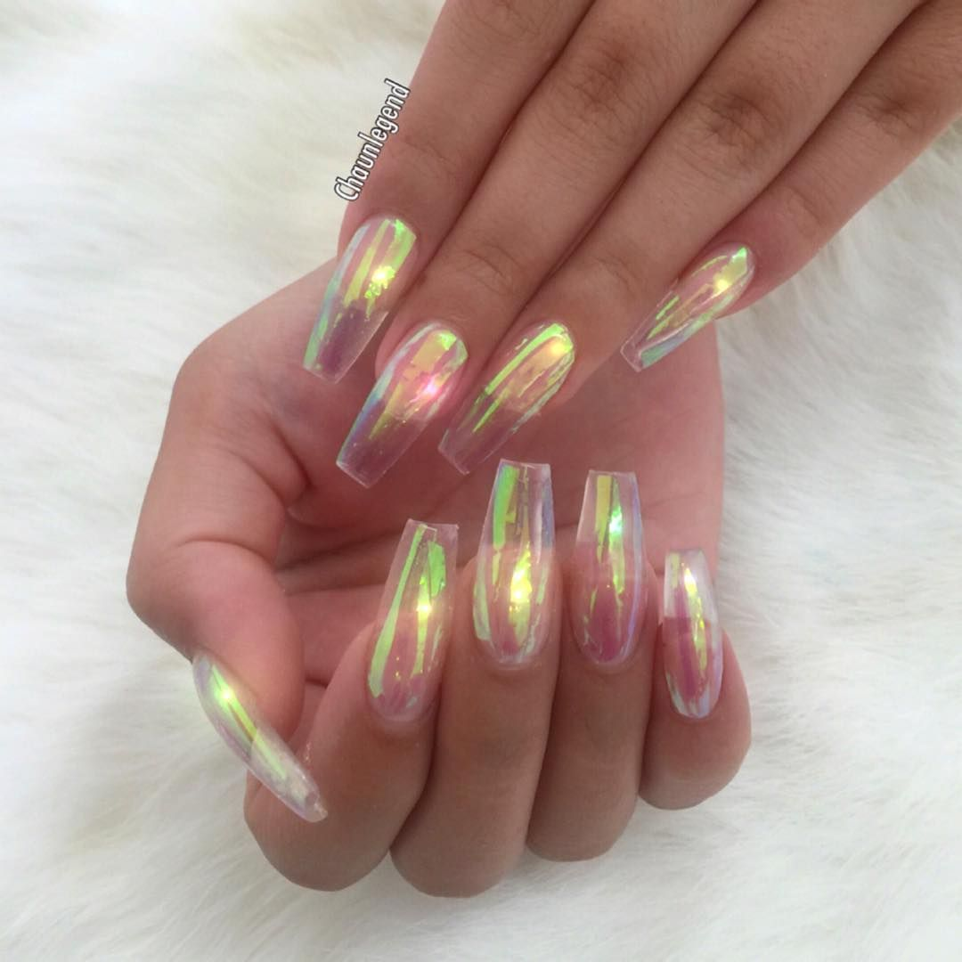 Bubble tapered square tip / Coffin long nails. Iridescent as Heaven ...