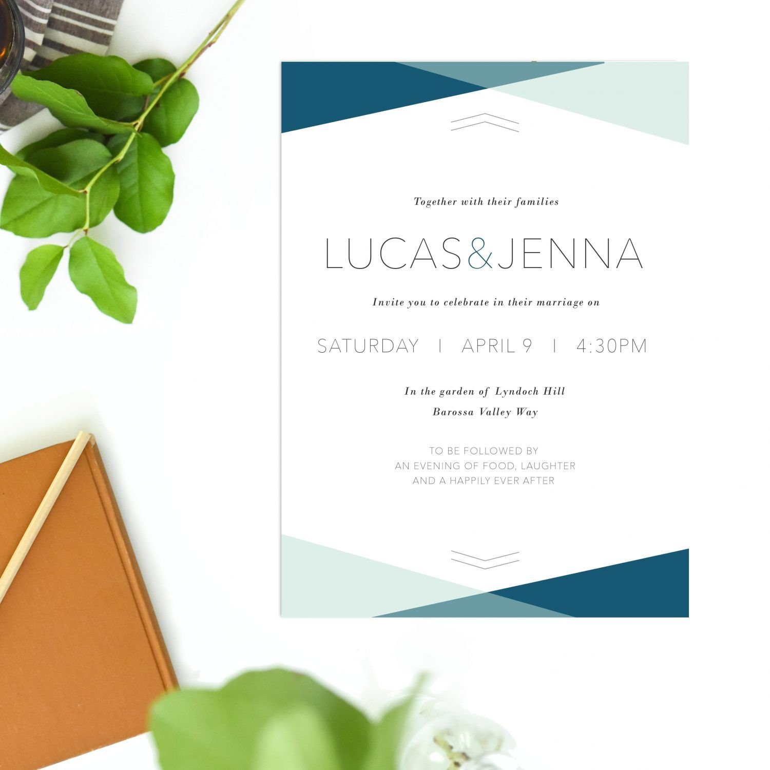 Minimal Wedding Invitations Simple Clean Modern Invites Sail and ...