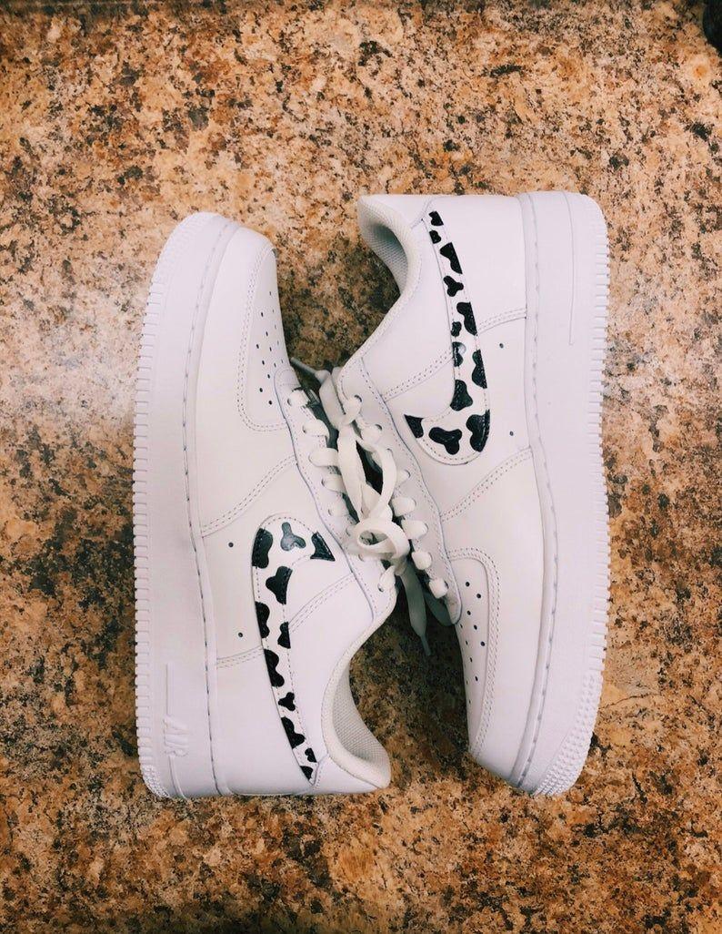 Cow Print Air Force 1s • White Air Force 1 Sneaker • White Nike Air Force 1 • Custom Air Force 1s • saghajewelry