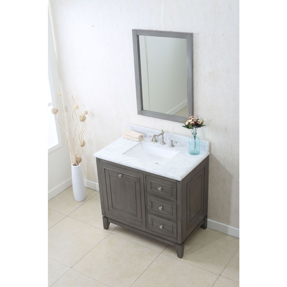 Legion Furniture Silver Gray 36-inch Sink Vanity Cabinet With ...