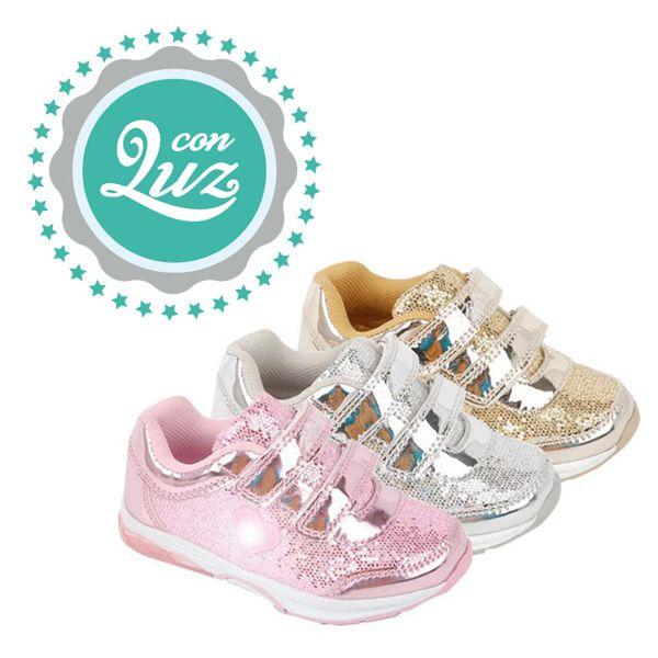 Zapatillas Deportivas Con Luz Para Niñas Con Detalles Metalizados Y Glitter Cuenta Con Un Sistema De Cier Zapatillas De Niñas Zapatillas Zapatillas Deportivas