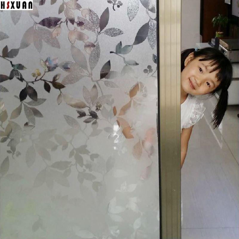 Sliding Glass Door Window Film 92x100cm Leaf Decoration Self