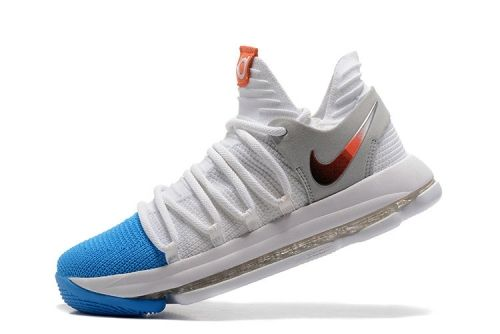 2018 How To Buy KD 10 Nike Zoom EP White Blue 897816 103 Kevin Durant Mens  Basketball Shoes b3a509b28