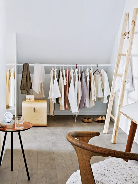 I Would Like To Have A #dressingroom In The Attic! Love This Bright Light,  The White Cloth Rack And Above All Tha Wooden Box And The Wooden Ladder