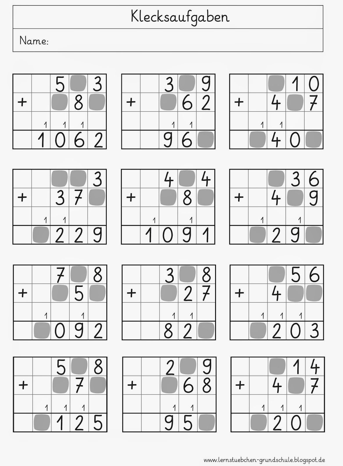 Lernstübchen: Klecksaufgaben | Jeux Mathématiques | Pinterest ...