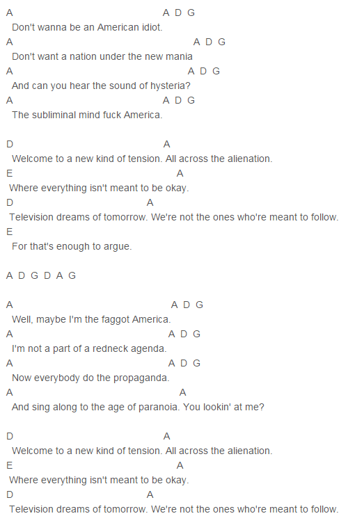 American Idiot Chords | 5 Seconds Of Summer | Pinterest | American ...