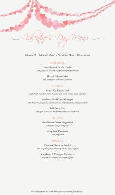 customize long menu for valentines day diy valentines menus